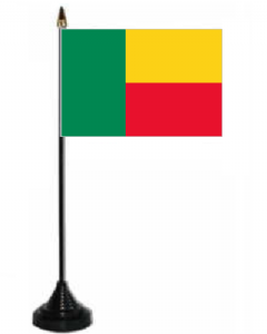 Benin Desk / Table Flag with plastic stand and base.